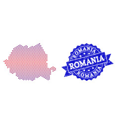 Composition of gradiented dotted map of romania vector