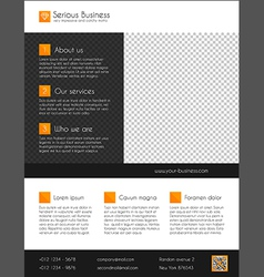 Corporate business flyer template- orange and grey vector image