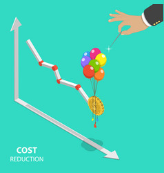 Cost reduction flat isometric concept vector