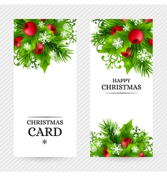 Cristmas holly fir banners 20 vector