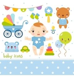 Cute cartoon baby boy set vector image