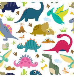 Cute dino seamless pattern vector