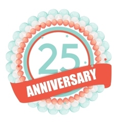Cute Template 25 Years Anniversary with Balloons vector