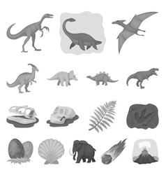 Different dinosaurs monochrome icons in set vector