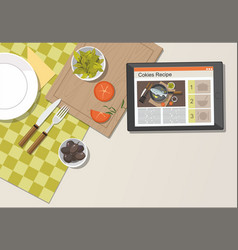 digital tablet in kitchen with recipe vector image