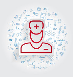 Doctor icon on handdrawn healthcare doodles vector