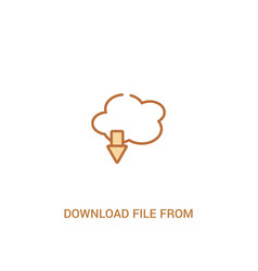download file from cloud concept 2 colored icon vector image