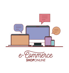 e-commerce shop online set tech elements on white vector image