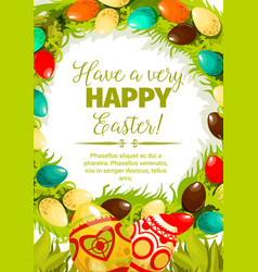 Easter egg wreath cartoon festive poster design vector