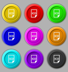 File ico icon sign symbol on nine round colourful vector