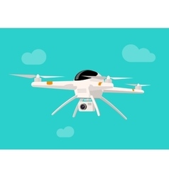 Flying drone with camera vector