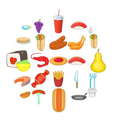 Food court icons set cartoon style vector