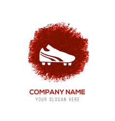 Football boot icon - red watercolor circle splash vector