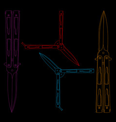 Four colorful outline balisongs on black vector