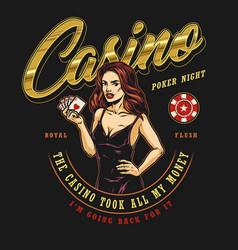 Gambling vintage colorful logo vector