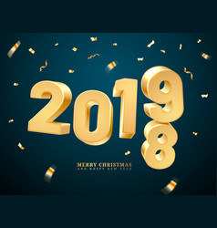 golden 2019-2018 happy new year and merry vector image