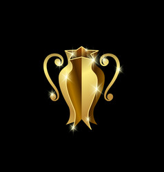 Golden sports cup of champions vector
