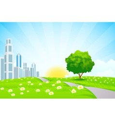 Green landscape with Trees City and Clouds vector image
