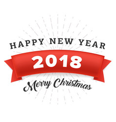 happy new year 2018 and merry christmas with red vector image