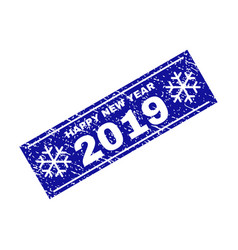 happy new year 2019 grunge rectangle stamp seal vector image