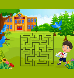 Help the boy to find his school maze game vector