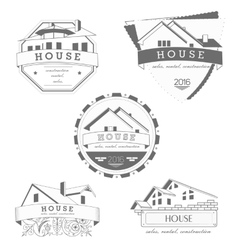 House logo gray template Realty theme icon vector