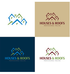 houses and roofs logo and icon vector image