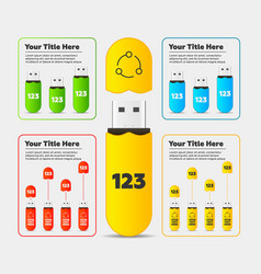 infographics usb flash card bar chart vector image