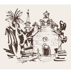 Ink drawing of historic church in with palm in vector