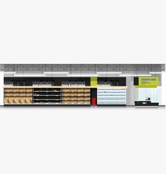 interior scene of supermarket with empty shelves vector image