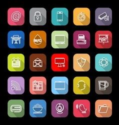Internet cafe line icons with long shadow vector image