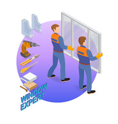 isometric interior repairs concept the workers vector image