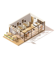Isometric low poly coffee shop vector