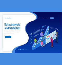 Isometric web banner data analysis and statistics vector