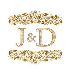 j and d vintage initials logo symbol letters vector image