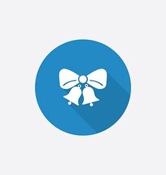 Jingle bells Flat Blue Simple Icon with long vector