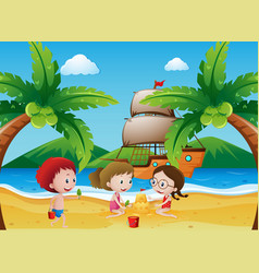 Kids playing on the beach vector