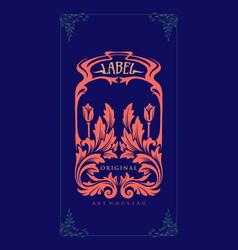 label carving art nouveau vector image
