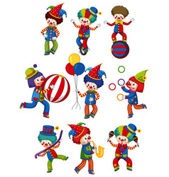 large set circus clowns doing different tricks vector image