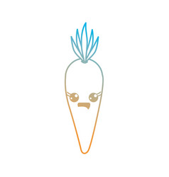 line kawaii cute happy carrot vegetable vector image
