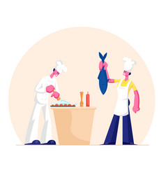 man and woman in chef aprons and toques cooking vector image