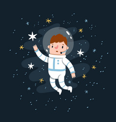 man in space costume reaching for stars vector image