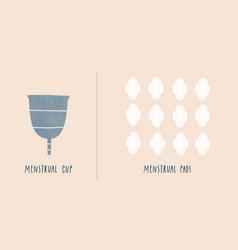 menstrual cup vs pads zero waste concept vector image