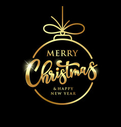 merry christmas message gold circle design vector image