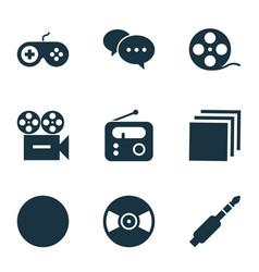 multimedia icons set with radio joystick jack vector image