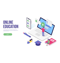 online education concept 3d isometric flat banner vector image
