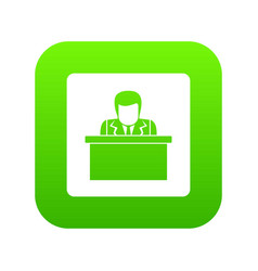 orator speaking from tribune icon digital green vector image