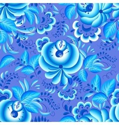 Ornate blue and white floral pattern vector image