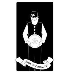 page or knave pentacles with top hat holding a vector image