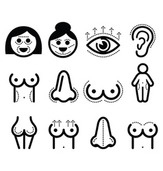 Plastic surgery beauty icons set vector image